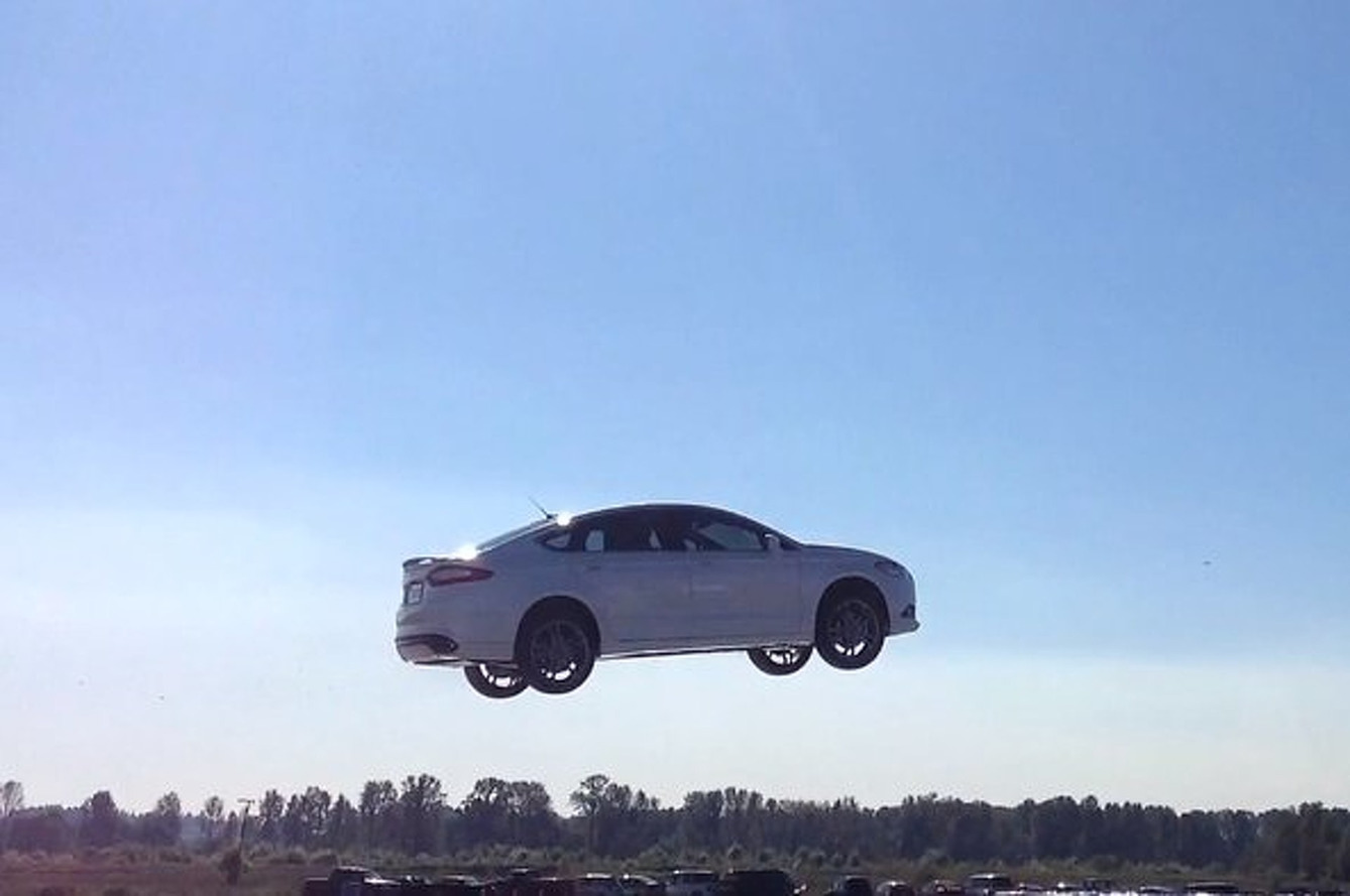Ford Fusion Flies 90 Feet into a Bunch of Cardboard Boxes