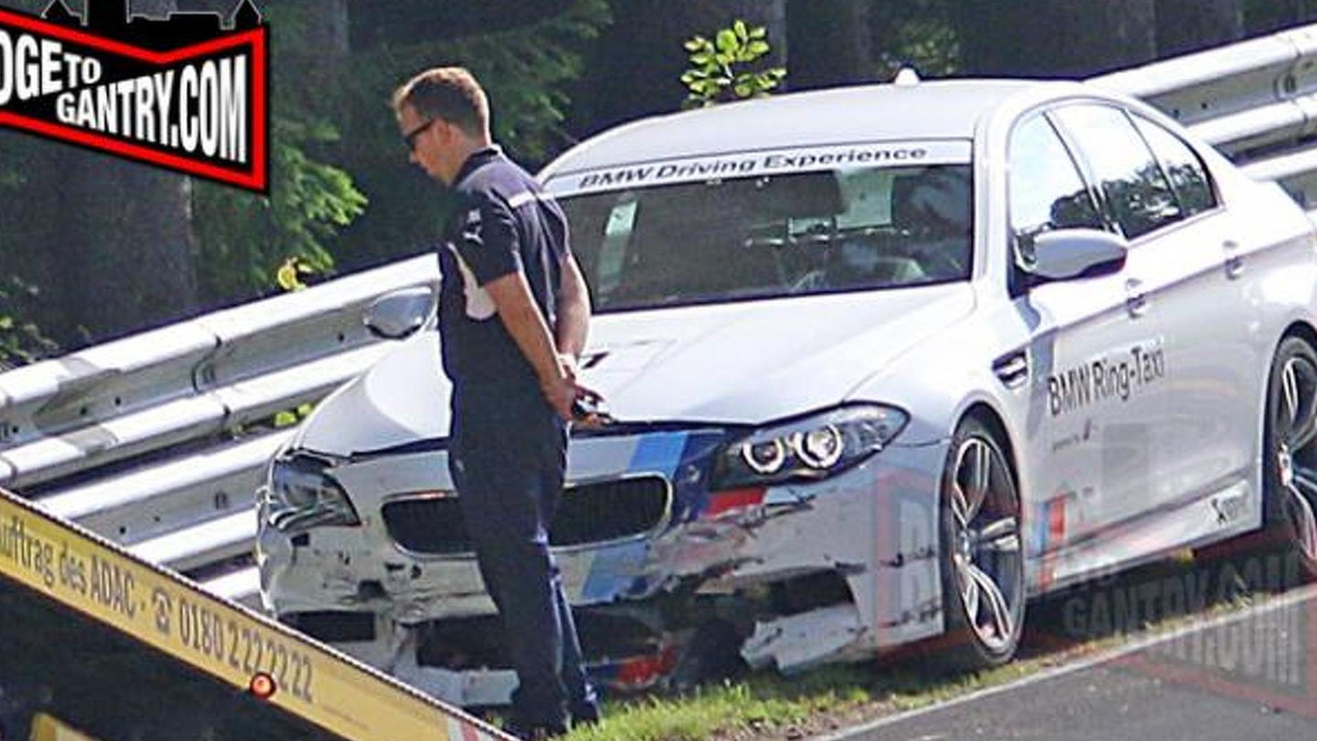 BMW M5 Nurburgring Taxi crashes once again after unsuccessful drift attempt
