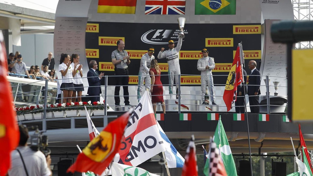 The podium (L to R): Nico Rosberg (GER) Mercedes AMG F1, second; Lewis Hamilton (GBR) Mercedes AMG F1, race winner; Felipe Massa (BRA) Williams, third, 07.09.2014, Italian Grand Prix, Monza / XPB