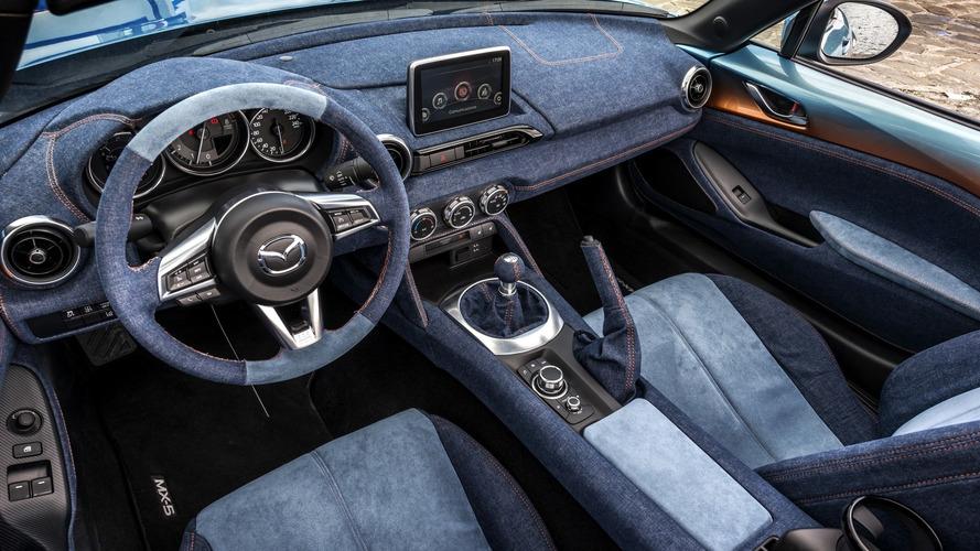 Mazda MX-5 gets reupholstered in denim by Garage Italia Customs