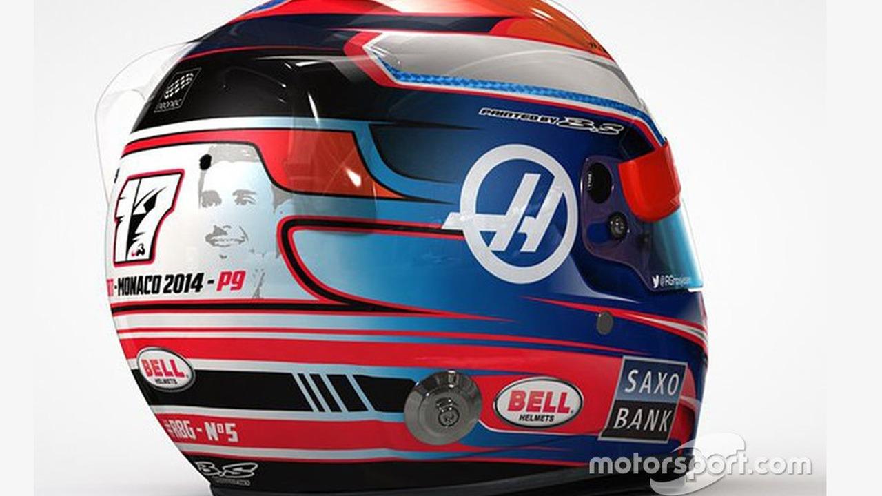 Romain Grosjean Monaco GP helmet with tribute to Jules Bianchi