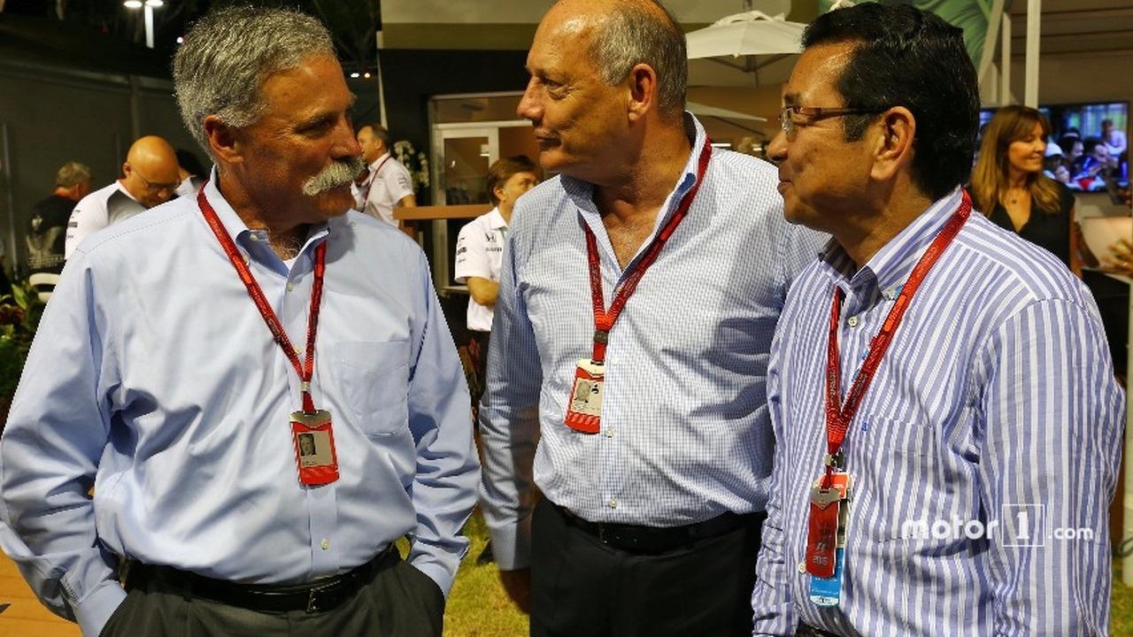 (L to R)- Chase Carey, Formula One Group Chairman with Ron Dennis, McLaren Executive Chairman and Takahiro Hachigo Honda CEO