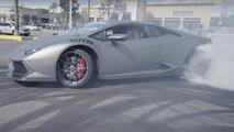 Lamborghini Huracan drifts at dealer