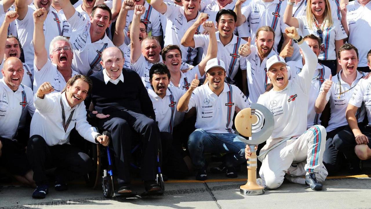 Third placed Valtteri Bottas (FIN) Williams celebrates his first podium finish with the team, 22.06.2014, Austrian Grand Prix, Spielberg / XPB