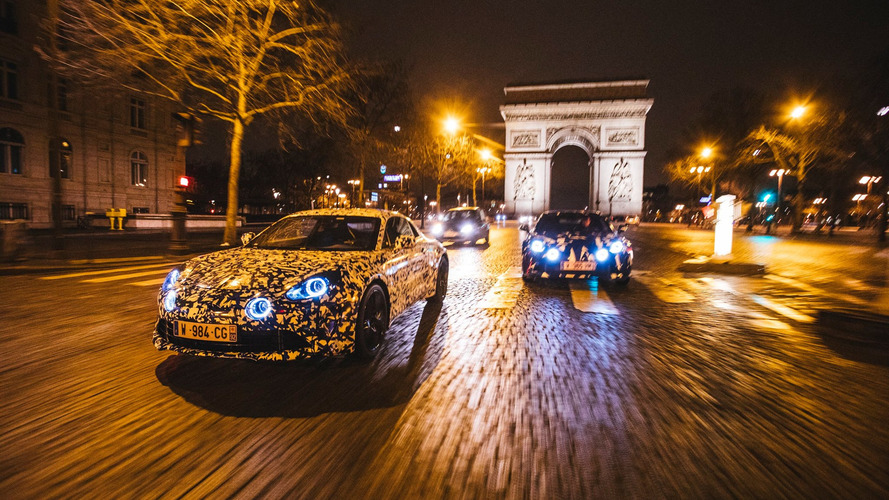 Alpine A120 prototypes go on a night cruise in Paris [29 photos]