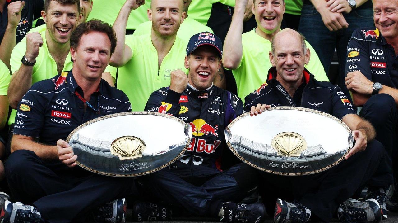 Sebastian Vettel with Christian Horner and Adrian Newey 25.08.2013 Belgian Grand Prix