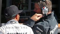 Lewis Hamilton, Mercedes AMG F1 with Ross Brawn, Mercedes AMG F1 Team Principal