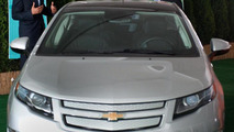 US President Barack Obama gets out of a Chevrolet Volt at groundbreaking ceremony for Compact Powers new advanced battery factory in Holland, Michigan 15.07.2010