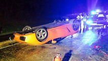 Lamborghini Gallardo Spyder flipped upside down by mechanic