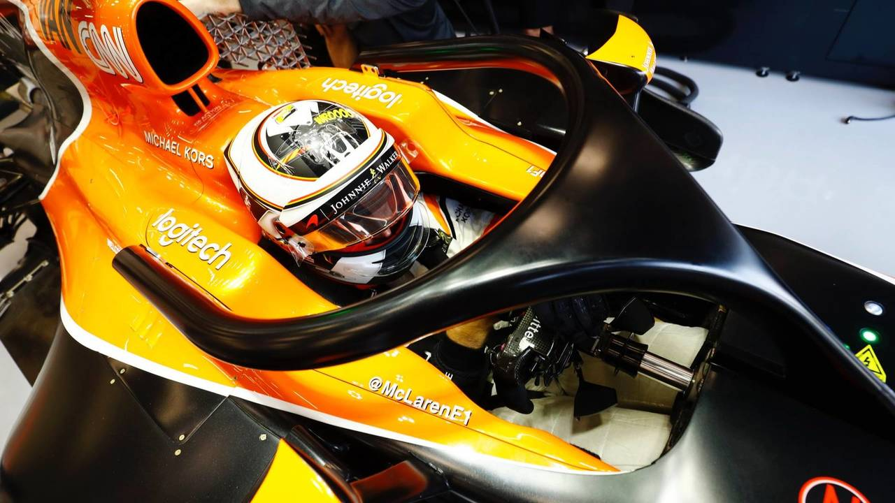 Stoffel Vandoorne, McLaren, with halo device