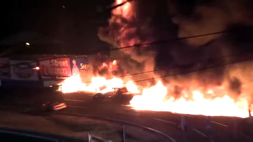 Watch These Late Model Drivers Walk Away From A Fiery Crash