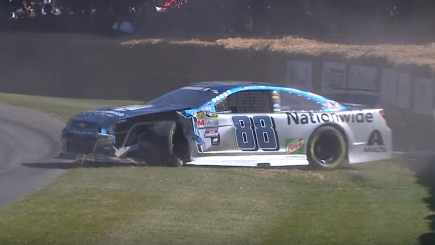 NASCAR Car Versus Right Corner At Goodwood, Corner Wins