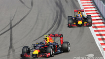 Daniil Kvyat, Red Bull Racing RB12 leads team mate Daniel Ricciardo, Red Bull Racing RB12