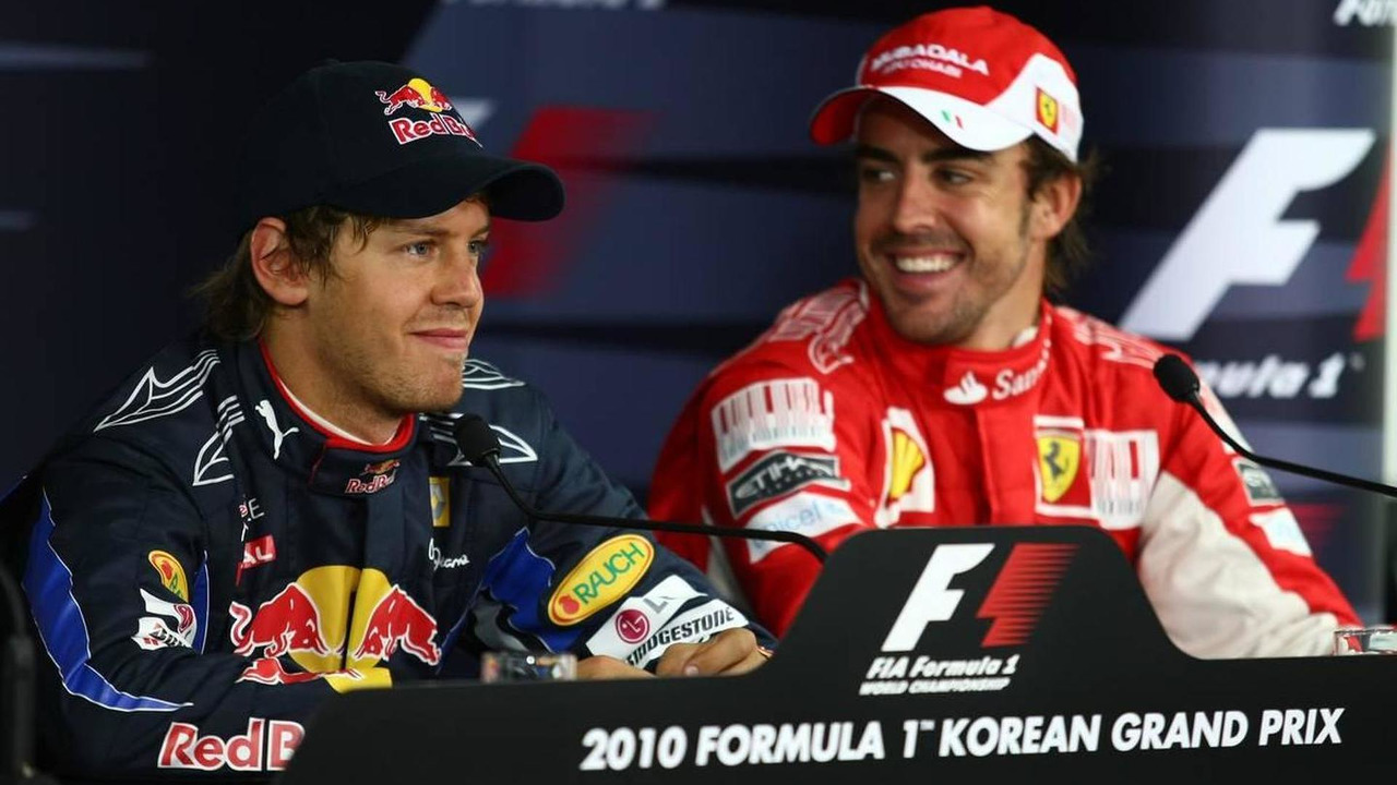 Sebastian Vettel (GER), Red Bull Racing and Fernando Alonso (ESP), Scuderia Ferrari - Formula 1 World Championship, Rd 17, Korean Grand Prix, Saturday Press Conference, 23.10.2010 Yeongam, Korea