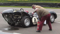 Classic Jaguar and Mercedes collide at Goodwood