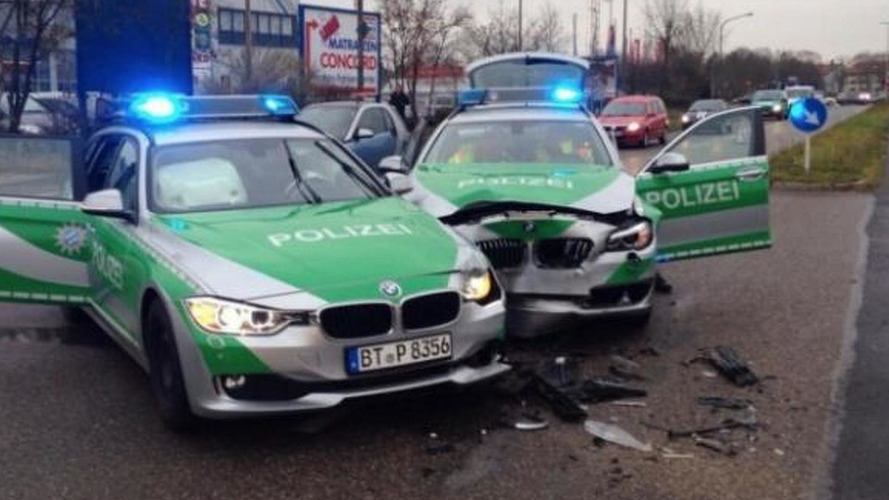 BMW 3-Series Touring and 5-Series Touring police cars crash into one another