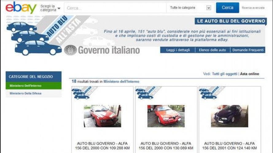 Auto blu all'asta: il ricavato di eBay in beneficenza