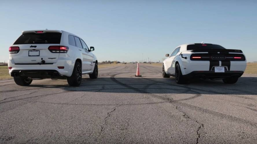 Jeep Trackhawk ile Dodge Challenger drag yarışı yaparsa