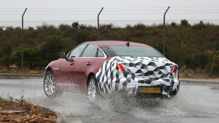 2015 Jaguar XJ facelift spied on wet roads