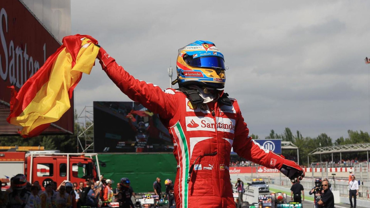 Fernando Alonso celebrates winning Spanish Grand Prix in Barcelona