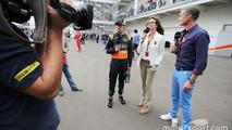 Sergio Perez, Sahara Force India F1 with Suzi Perry, BBC F1 Presenter and David Coulthard, Red Bull Racing and Scuderia Toro Advisor / BBC Television Commentator