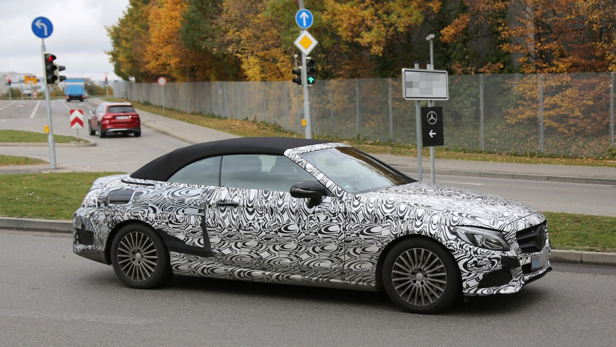 2016 Mercedes-Benz C-Class Cabriolet spy photos show the soft top