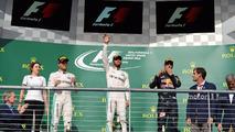 The podium (L to R)- Nico Rosberg, Mercedes AMG F1, second; Lewis Hamilton, Mercedes AMG F1, race winner; Daniel Ricciardo, Red Bull Racing, third
