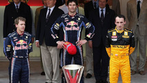1st place Mark Webber (AUS), with 2nd place Sebastian Vettel (GER), and 3rd place Robert Kubica (POL), Monaco Grand Prix, 16.05.2010 Monaco, Monte Carlo