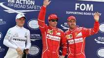 Ganador de la pole Kimi Raikkonen, Ferrari, segundo Sebastian Vettel, Ferrari y tercero Valtteri Bottas, Mercedes AMG F1