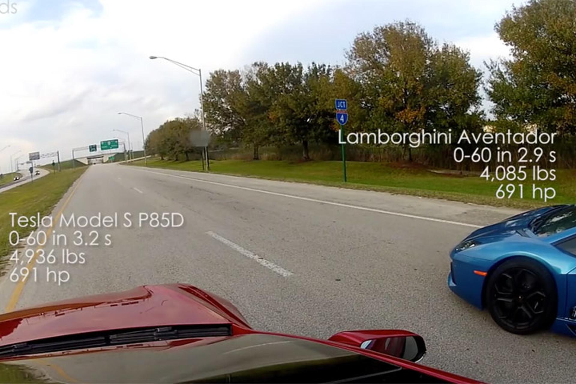 Watch a Tesla P85D Out-Sprint a Lamborghini Aventador