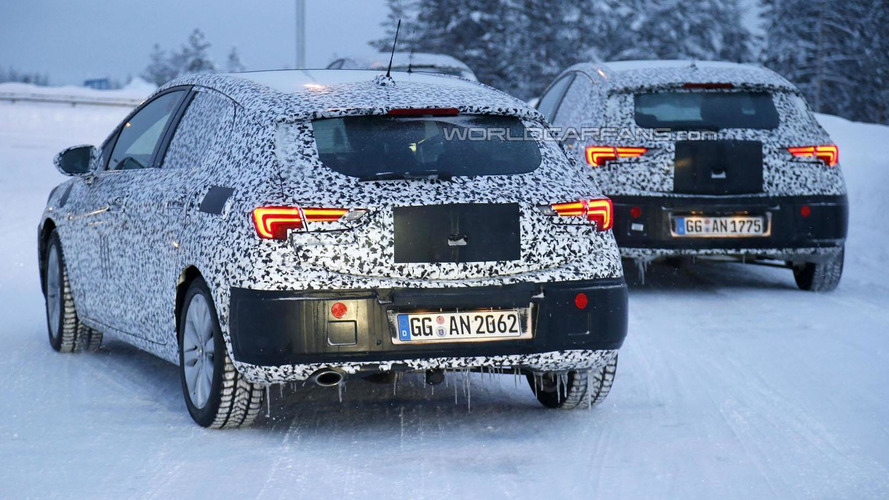 2016 Opel Astra spied wearing production head- and taillights