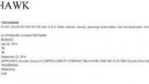 Chrysler Trackhawk trademark application