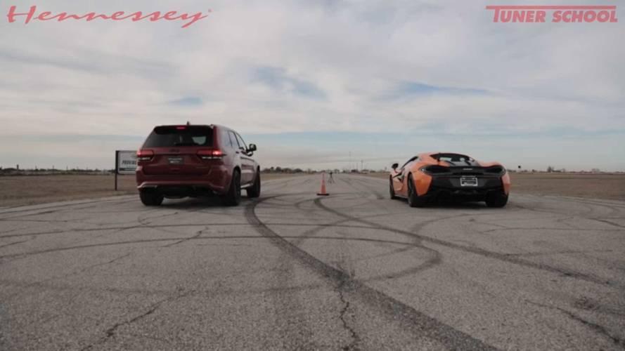 Watch This Jeep Grand Cherokee Trackhawk Drag Race A McLaren 570S