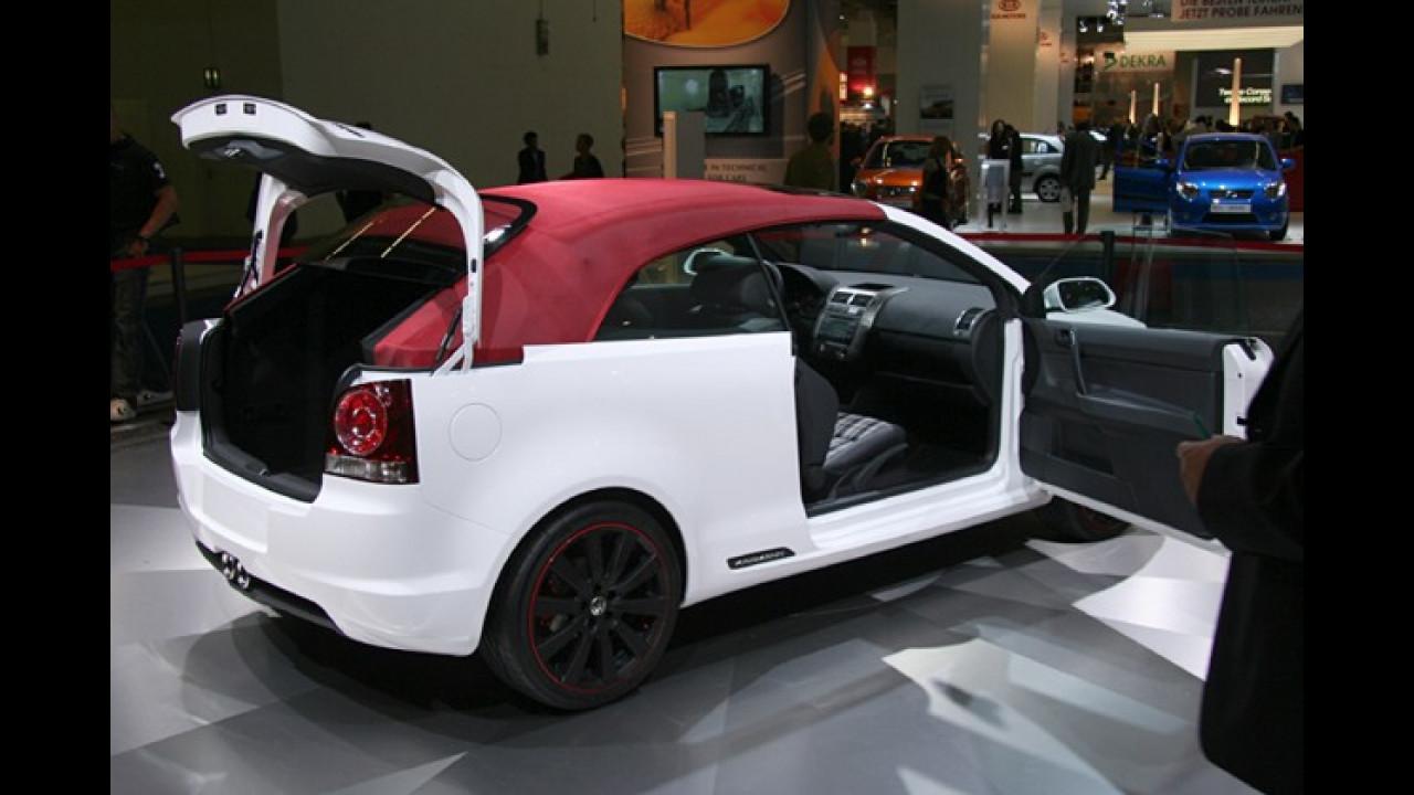 Die Heckscheibe des Polo Cabrio lässt sich innovativ nach oben fahren