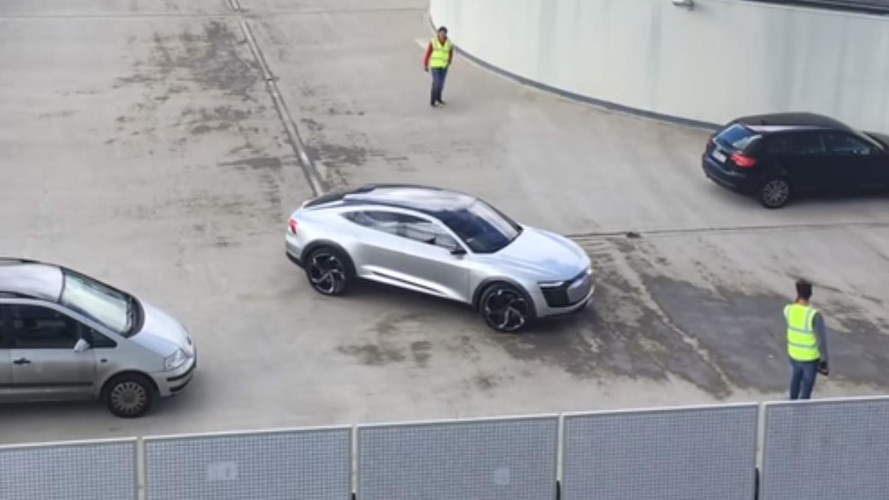 Audi E-Tron Sportback Caught In Motion On Top Of A Building