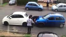 Turkish Hulk picks up and moves car