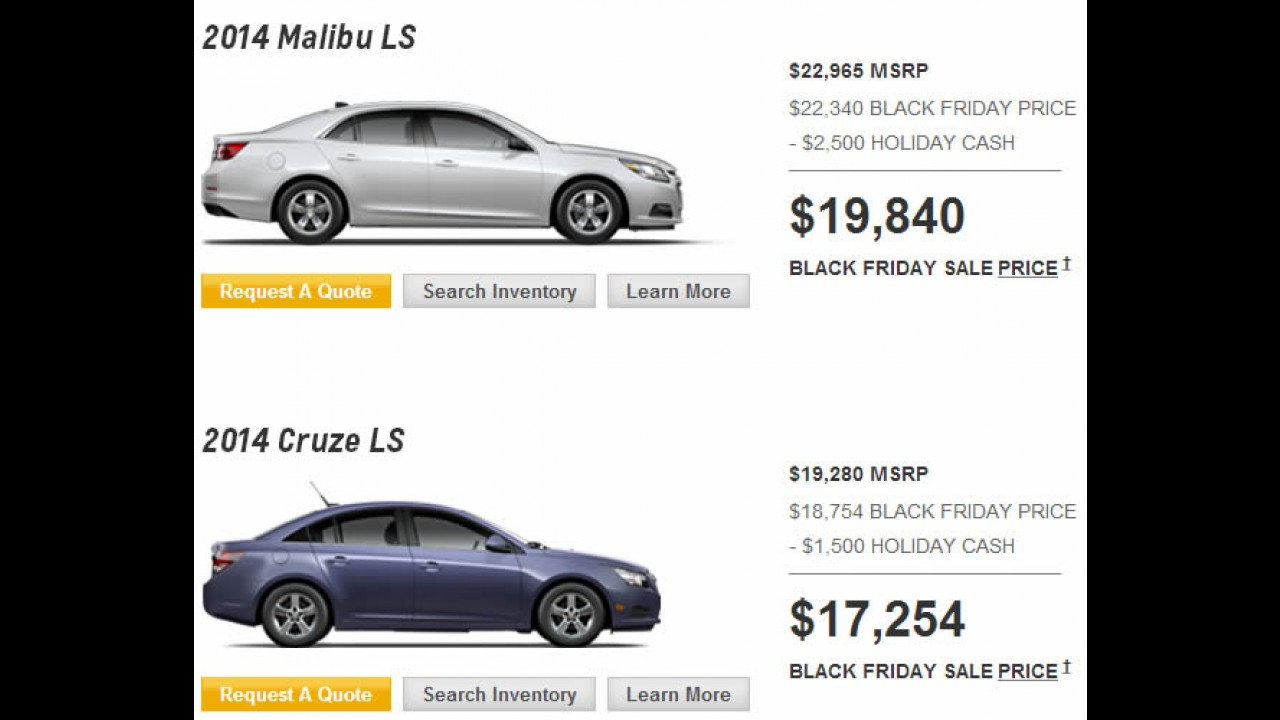 Black Friday nos EUA: VW, Chevrolet e Ford dão descontos e facilidades