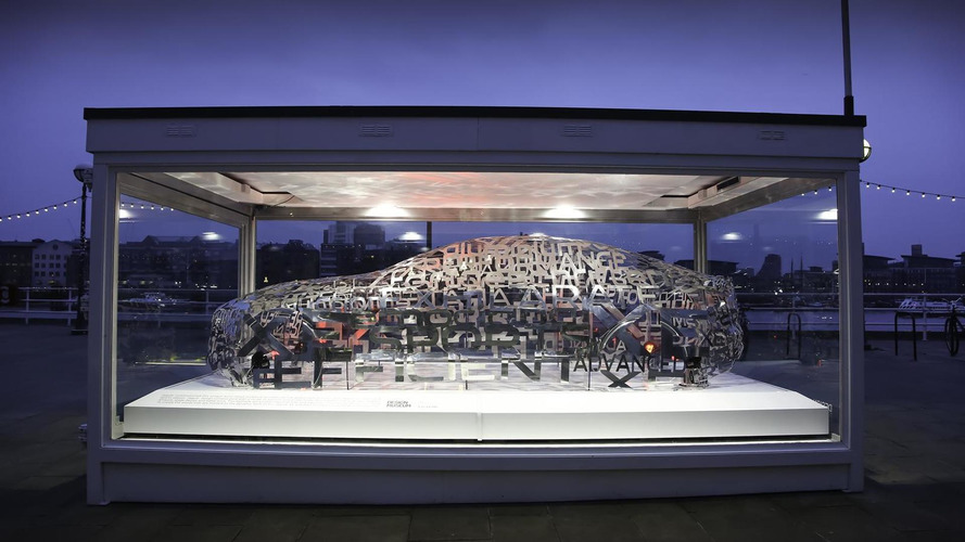 Jaguar XE word cloud sculpture showcased at London Design Museum