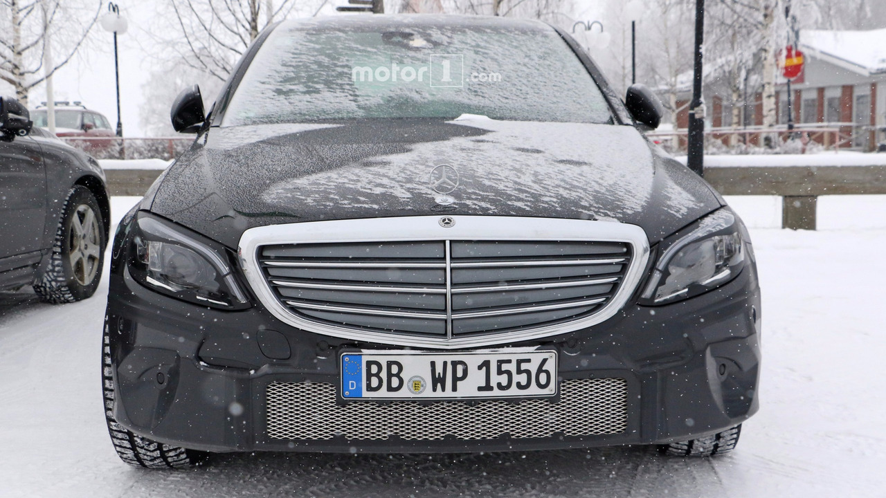 2018 mercedes c class spotted with production headlights for Mercedes benz c300 residual value