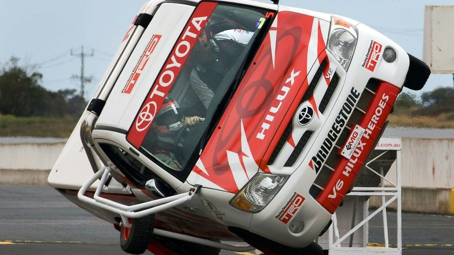 Timo Glock Drives Toyota Hilux on Two Wheels