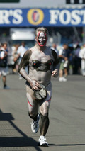 10.07.2005 Silverstone, England, Journalist Bob McKenzie run naked around Silverstone after losing bet with Ron Dennis, British Grand Prix, Silverstone, England