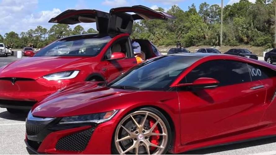 Watch Tesla Model X P100D Ludicrous Race Acura NSX