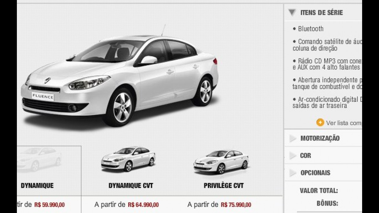 Fluence já pode ser configurado no site da Renault