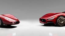 1957 Maserati 250S and 1957 Maserati 250S revival rendering