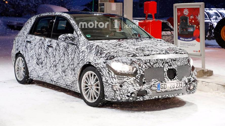 Next-generation Mercedes B-Class spied at petrol station