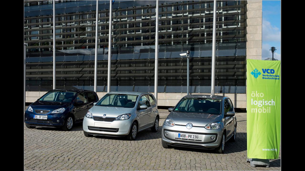 VCD Auto-Umweltliste, geteilter Platz 1: Seat Mii 1.0 Ecofuel Start&Stop, SkodaCitigo 1.0 CNG Green tec, Volkswagen eco up!, 8,03 Punkte