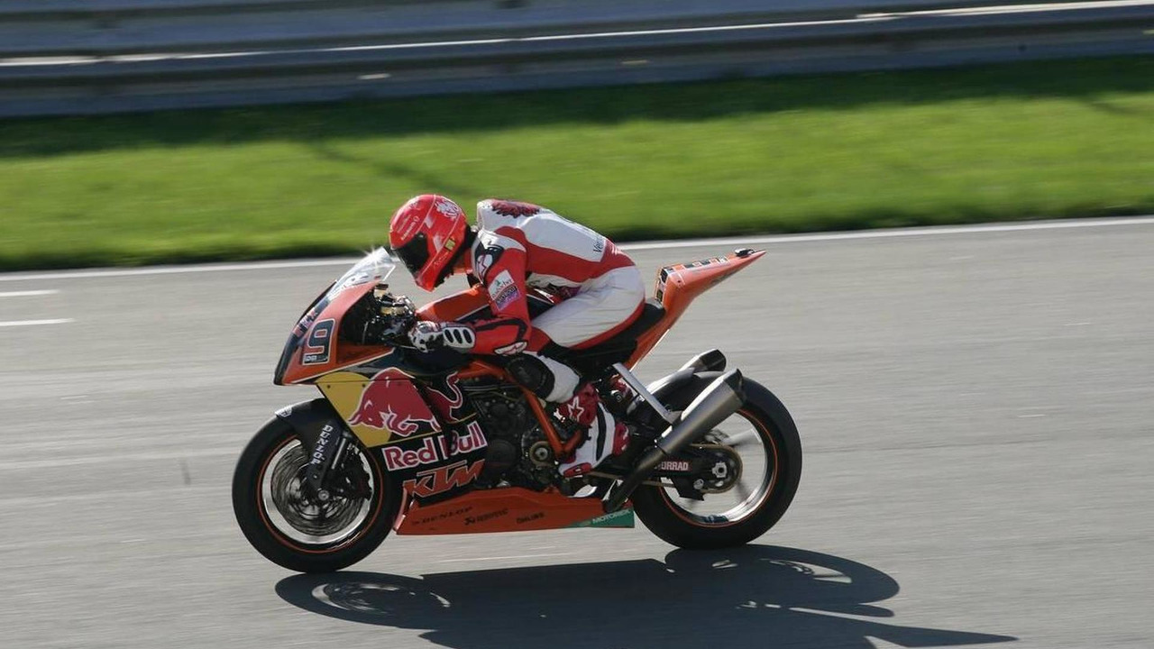 Michael Schumacher (GER) Mercedes GP is driving KTM Superbike, 21.09.2010 Sachsenring, Oberlungwitz, Germany
