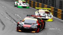 Laurens Vanthoor, Audi Sport Team WRT Audi R8 LMS; Earl Bamber, Manthey Racing Porsche 911 GT3-R; Kévin Estre, Manthey Racing Porsche 911 GT3-R