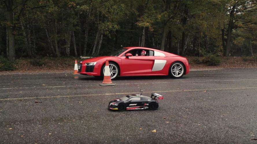 Oyuncak Audi R8, gerçek R8 ile yarıştı