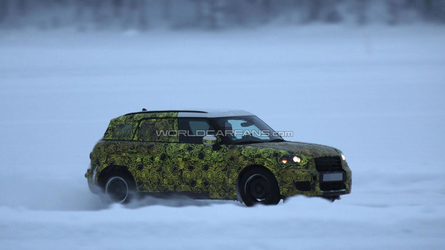 2017 MINI Countryman spied drifting on a frozen lake